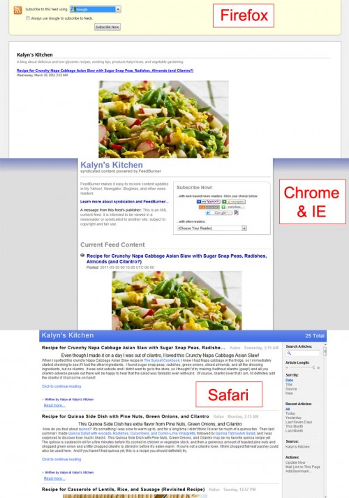 RSS feed displayed in several browsers