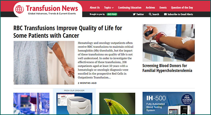 Transfusion News web site
