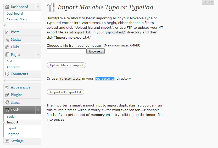 Movable Type Import